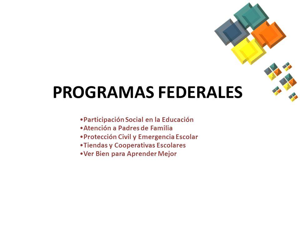 PROGRAMAS ESTATALES INTERINSTITUCIONALES PROGRAMAS LA LEGALIDAD DESDE LA ESCUELA SEGURIDAD ESCOLAR SALUD Y DESARROLLO PROMOCIÓN A LA SALUD UNIDADES MÓVILES DE DESARROLLO PROGRAMAS FEDERALES PARTICIPACIÓN SOCIAL EN LA EDUCACIÓN (CEPS Y CMPSE) ATENCIÓN A PADRES DE FAMILIA PROTECCIÓN CIVIL Y EMERGENCIA ESCOLAR VER BIEN PARA APRENDER MEJOR FEDERALES QUE DEPENDEN DE OTRAS ÁREAS ALFABETIZACIÓN TIENDAS Y COOPERATIVAS ESCOLARES EVALUACIÓN EDUCATIVA PARQUE LA ALDEA PREVENCIÓN Y ATENCIÓN AL MALTRATO FORTALECIMIENTO DE LA FAMILIA EDUCACIÓN VIAL Y SEGURIDAD ESCOLAR ALFABETIZACIÓN LECTURA, ALFABETIZACION Y ACTIV.