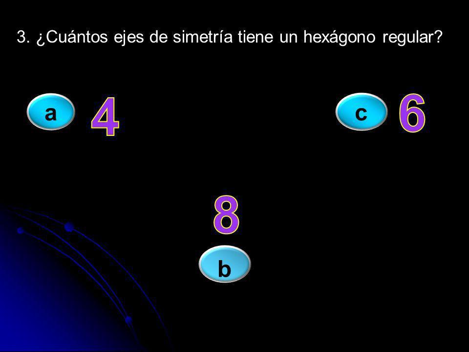 3. ¿Cuántos ejes de simetría tiene un hexágono regular? ac b
