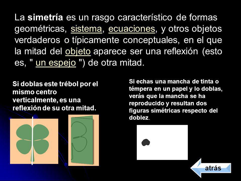 La simetría es un rasgo característico de formas geométricas, sistema, ecuaciones, y otros objetos verdaderos o típicamente conceptuales, en el que la