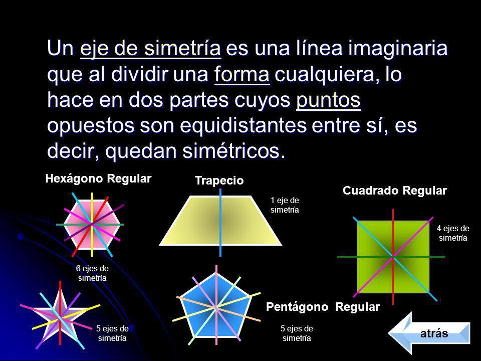 Un eje de simetría es una línea imaginaria que al dividir una forma cualquiera, lo hace en dos partes cuyos puntos opuestos son equidistantes entre sí