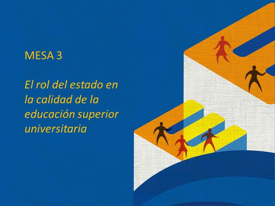 MESA 3 El rol del estado en la calidad de la educación superior universitaria