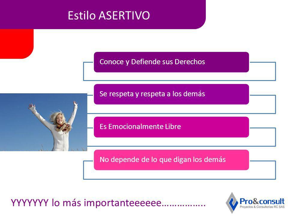 Estilo ASERTIVO Conoce y Defiende sus DerechosSe respeta y respeta a los demásEs Emocionalmente LibreNo depende de lo que digan los demás YYYYYYY lo m