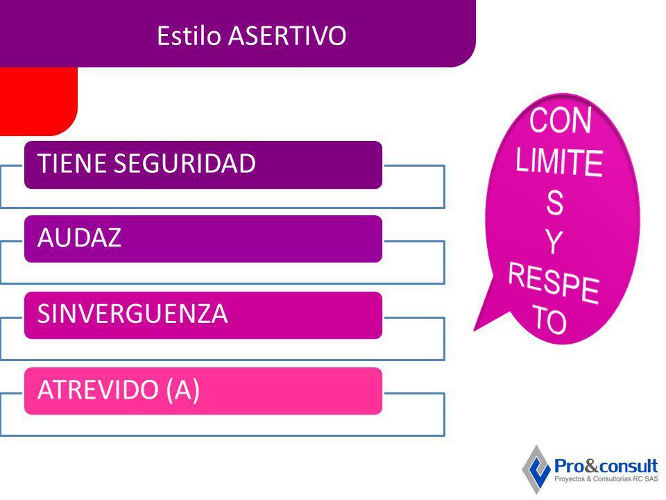 Estilo ASERTIVO TIENE SEGURIDADAUDAZSINVERGUENZAATREVIDO (A)