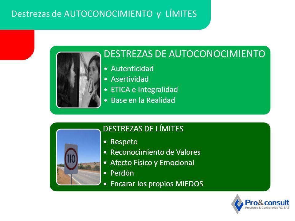 Destrezas de AUTOCONOCIMIENTO y LÍMITES DESTREZAS DE AUTOCONOCIMIENTO Autenticidad Asertividad ETICA e Integralidad Base en la Realidad DESTREZAS DE L