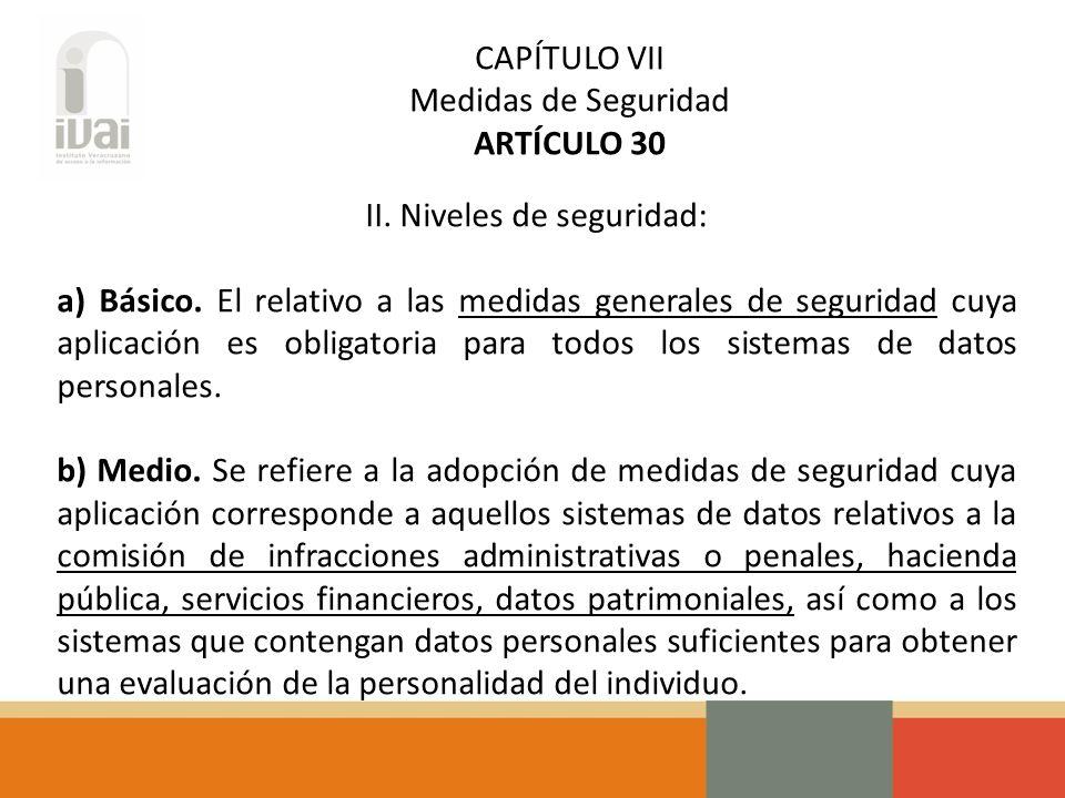 CAPÍTULO VII Medidas de Seguridad ARTÍCULO 30 II. Niveles de seguridad: a) Básico.