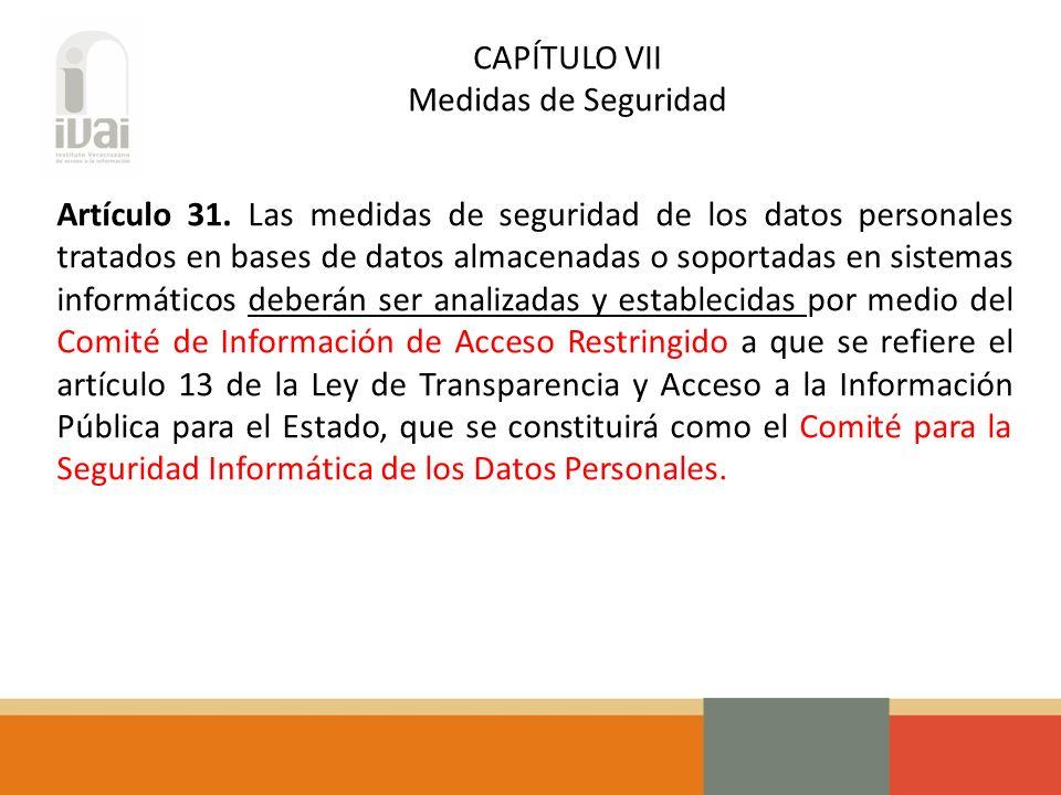 CAPÍTULO VII Medidas de Seguridad Artículo 31.