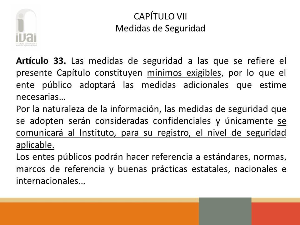 CAPÍTULO VII Medidas de Seguridad Artículo 33.