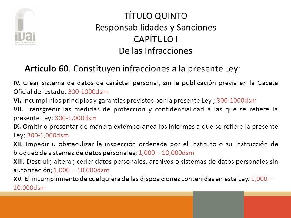 TÍTULO QUINTO Responsabilidades y Sanciones CAPÍTULO I De las Infracciones Artículo 60.