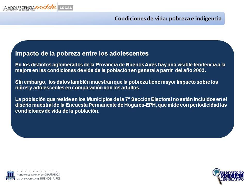 Condiciones de vida: pobreza e indigencia Impacto de la pobreza entre los adolescentes En los distintos aglomerados de la Provincia de Buenos Aires hay una visible tendencia a la mejora en las condiciones de vida de la población en general a partir del año 2003.