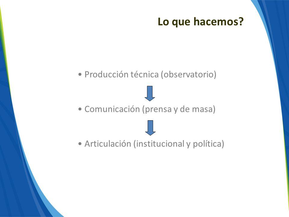Lo que hacemos? Producción técnica (observatorio) Comunicación (prensa y de masa) Articulación (institucional y política)