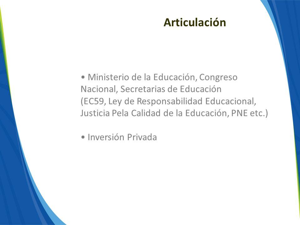 Articulación Ministerio de la Educación, Congreso Nacional, Secretarias de Educación (EC59, Ley de Responsabilidad Educacional, Justicia Pela Calidad