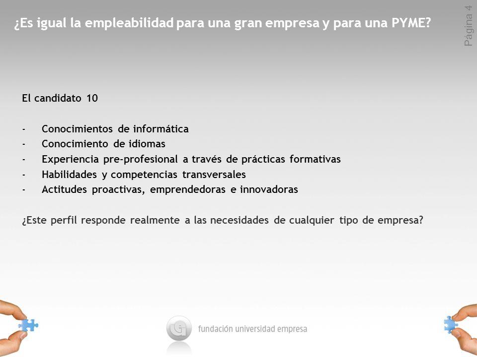 Página 4 ¿Es igual la empleabilidad para una gran empresa y para una PYME.