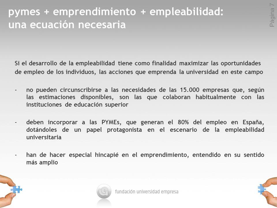 Página 7 pymes + emprendimiento + empleabilidad: una ecuación necesaria Si el desarrollo de la empleabilidad tiene como finalidad maximizar las oportunidades de empleo de los individuos, las acciones que emprenda la universidad en este campo -no pueden circunscribirse a las necesidades de las 15.000 empresas que, según las estimaciones disponibles, son las que colaboran habitualmente con las instituciones de educación superior -deben incorporar a las PYMEs, que generan el 80% del empleo en España, dotándoles de un papel protagonista en el escenario de la empleabilidad universitaria -han de hacer especial hincapié en el emprendimiento, entendido en su sentido más amplio
