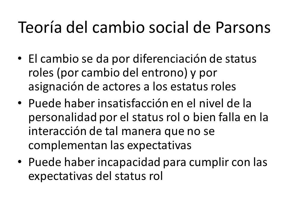 Teoría del cambio social de Parsons El cambio se da por diferenciación de status roles (por cambio del entrono) y por asignación de actores a los esta