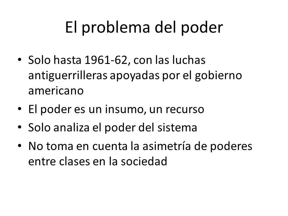 El problema del poder Solo hasta 1961-62, con las luchas antiguerrilleras apoyadas por el gobierno americano El poder es un insumo, un recurso Solo an