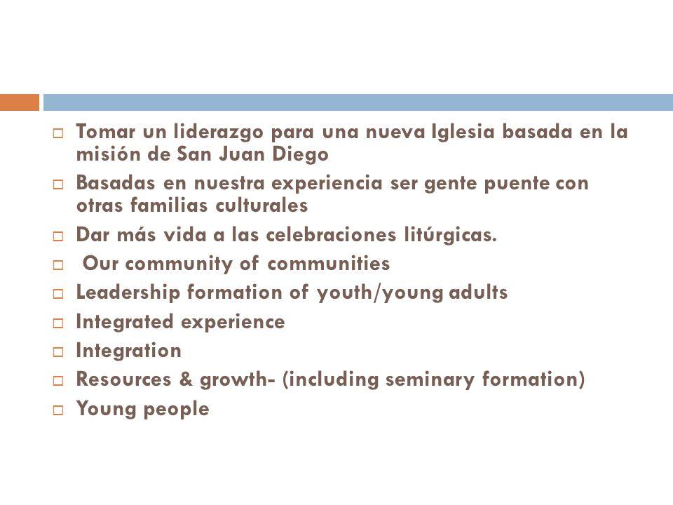 Tomar un liderazgo para una nueva Iglesia basada en la misión de San Juan Diego Basadas en nuestra experiencia ser gente puente con otras familias culturales Dar más vida a las celebraciones litúrgicas.