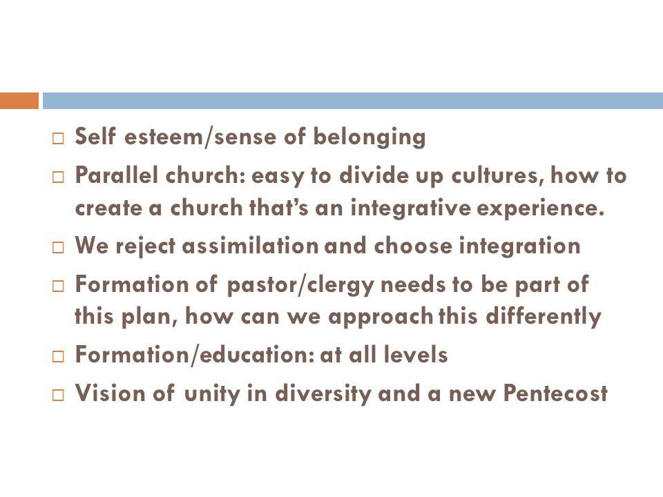 Self esteem/sense of belonging Parallel church: easy to divide up cultures, how to create a church thats an integrative experience.