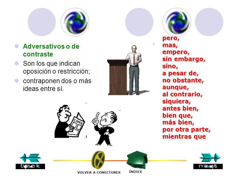 Adversativos o de contraste Son los que indican oposición o restricción; contraponen dos o más ideas entre sí.