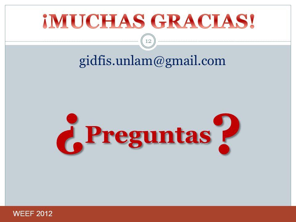 gidfis.unlam@gmail.com ¿ Preguntas ? 12 WEEF 2012