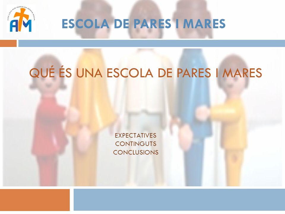 ESCOLA DE PARES I MARES QUÉ PRETENDEMOS: Promover un clima de confianza entre los participantes y entre los participantes y el coordinador de las sesiones, que facilite la interacción, integración y participación activa de todas las personas que forman parte del programa.
