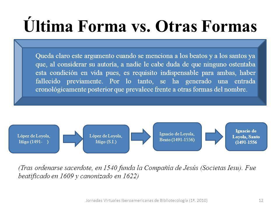 Última Forma vs. Otras Formas Jornadas Virtuales Iberoamericanas de Bibliotecología (1ª. 2010)12 (Tras ordenarse sacerdote, en 1540 funda la Compañía