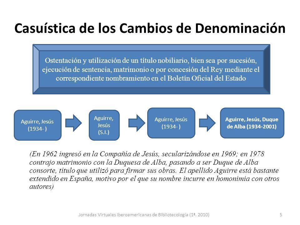 Casuística de los Cambios de Denominación (En 1962 ingresó en la Compañía de Jesús, secularizándose en 1969; en 1978 contrajo matrimonio con la Duques