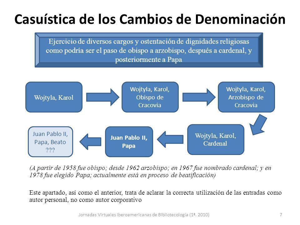 Casuística de los Cambios de Denominación (A partir de 1958 fue obispo; desde 1962 arzobispo; en 1967 fue nombrado cardenal; y en 1978 fue elegido Pap