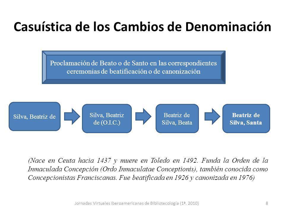 Casuística de los Cambios de Denominación (Nace en Ceuta hacia 1437 y muere en Toledo en 1492. Funda la Orden de la Inmaculada Concepción (Ordo Inmacu