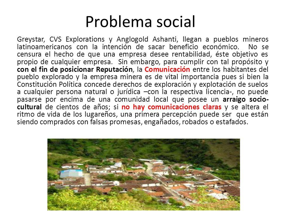 Problema social Greystar, CVS Explorations y Anglogold Ashanti, llegan a pueblos mineros latinoamericanos con la intención de sacar beneficio económico.
