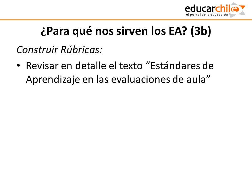 ¿Para qué nos sirven los EA? (3b) Construir Rúbricas: Revisar en detalle el texto Estándares de Aprendizaje en las evaluaciones de aula