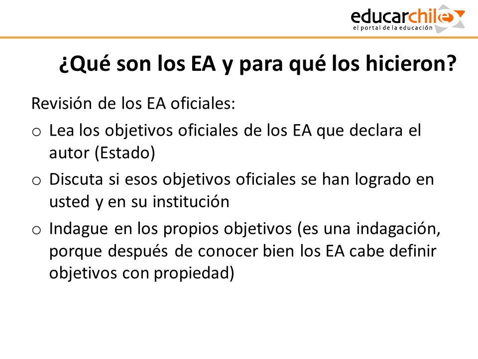 ¿Qué son los EA y para qué los hicieron? Revisión de los EA oficiales: o Lea los objetivos oficiales de los EA que declara el autor (Estado) o Discuta