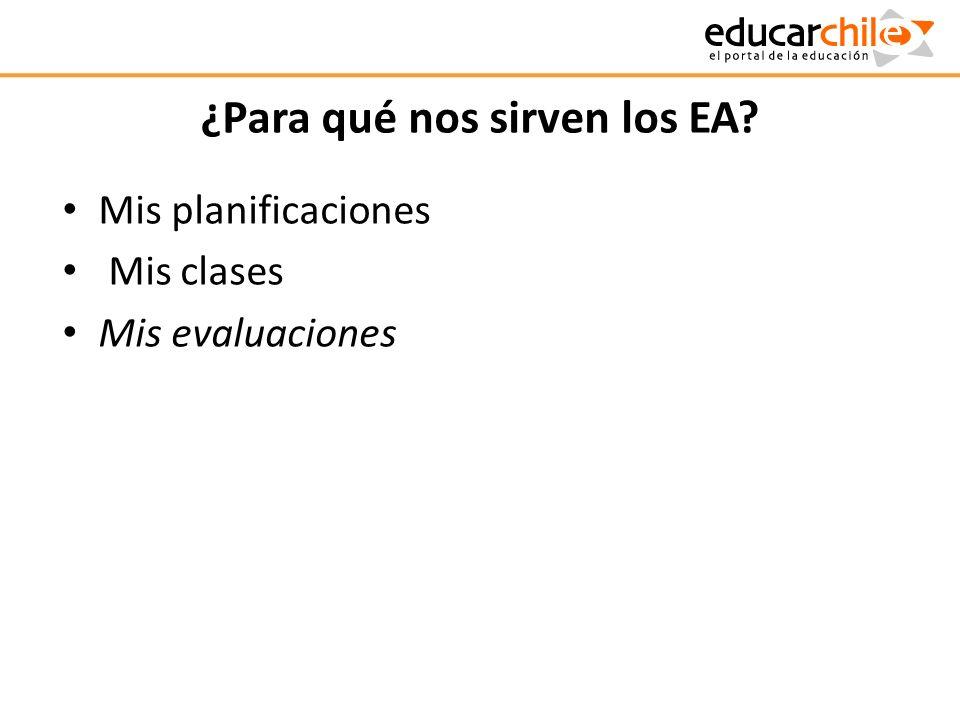 ¿Para qué nos sirven los EA? Mis planificaciones Mis clases Mis evaluaciones