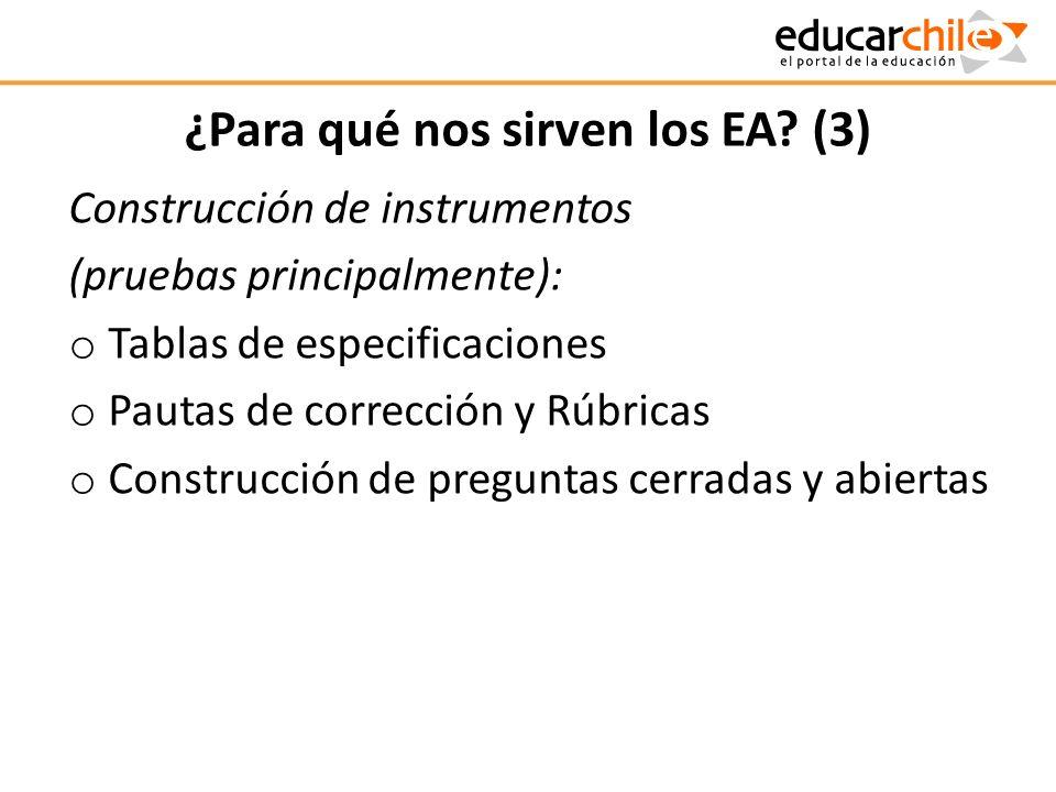 ¿Para qué nos sirven los EA? (3) Construcción de instrumentos (pruebas principalmente): o Tablas de especificaciones o Pautas de corrección y Rúbricas