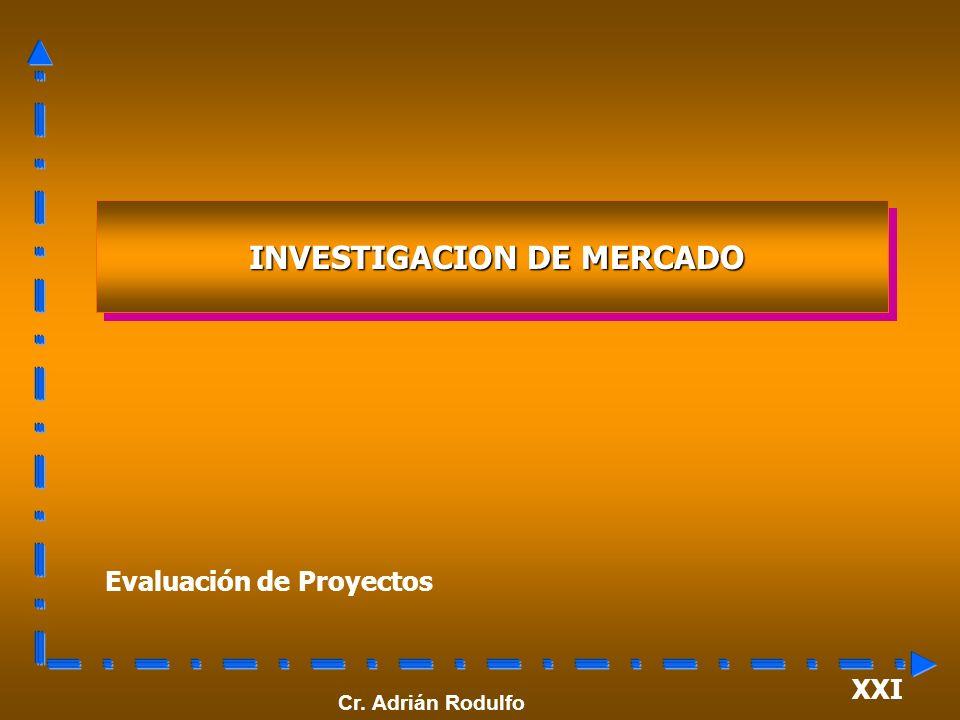 XXI Evaluación de Proyectos INVESTIGACION DE MERCADO INVESTIGACION DE MERCADO Cr. Adrián Rodulfo