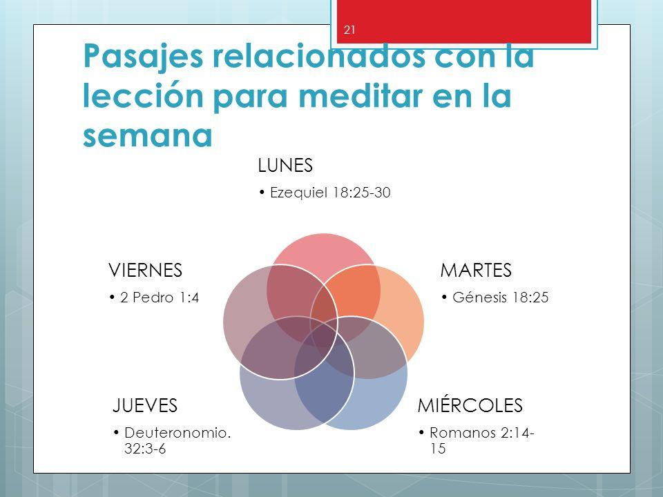 Pasajes relacionados con la lección para meditar en la semana LUNES Ezequiel 18:25-30 MARTES Génesis 18:25 MIÉRCOLES Romanos 2:14- 15 JUEVES Deuterono