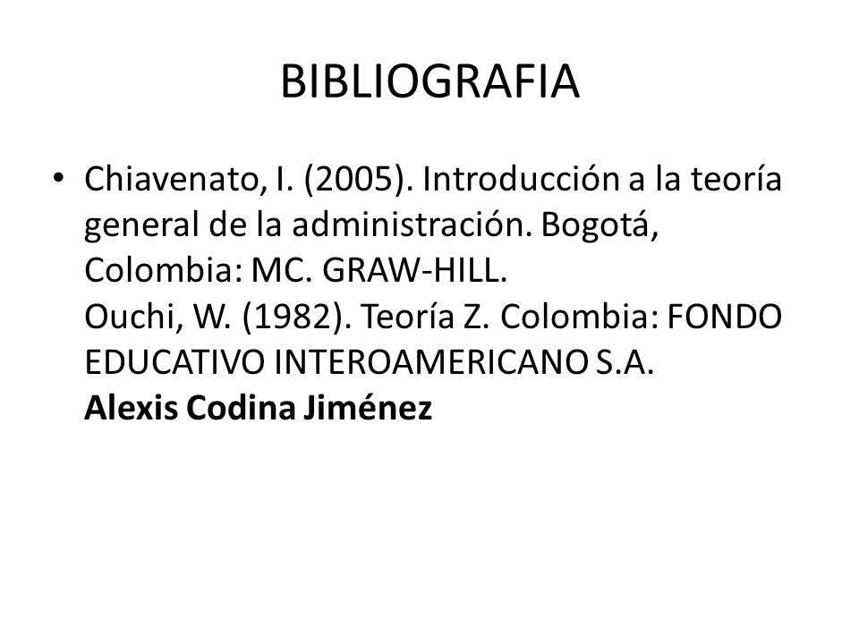 BIBLIOGRAFIA Chiavenato, I.(2005). Introducción a la teoría general de la administración.