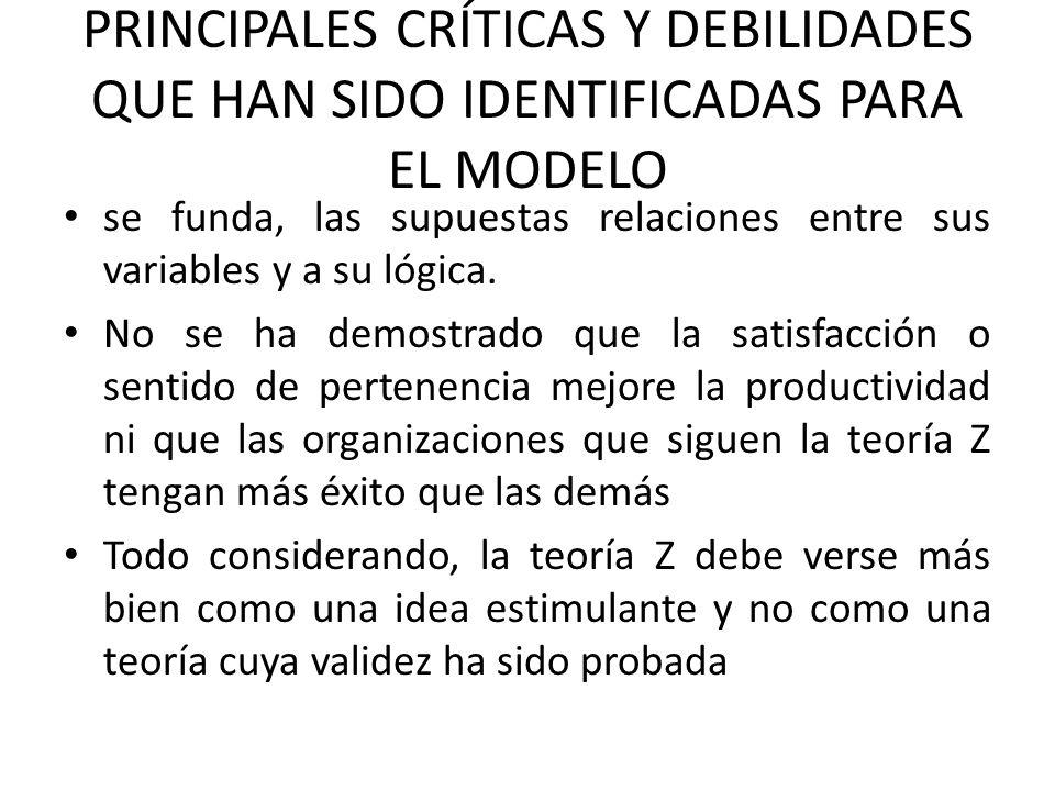 PRINCIPALES CRÍTICAS Y DEBILIDADES QUE HAN SIDO IDENTIFICADAS PARA EL MODELO se funda, las supuestas relaciones entre sus variables y a su lógica.