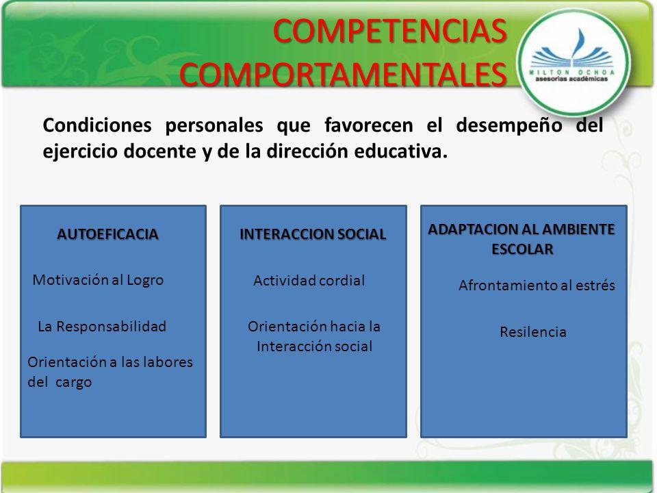 COMPETENCIAS COMPORTAMENTALES AUTOEFICACIA INTERACCION SOCIAL ADAPTACION AL AMBIENTE ESCOLAR Motivación al Logro La Responsabilidad Orientación a las