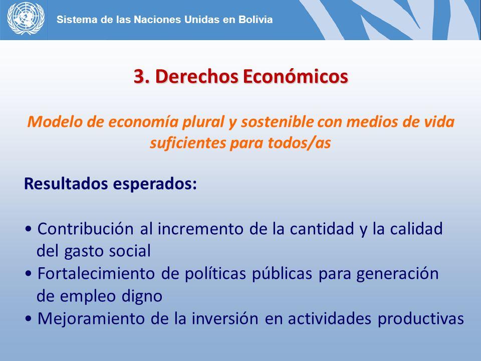 3. Derechos Económicos Modelo de economía plural y sostenible con medios de vida suficientes para todos/as Resultados esperados: Contribución al incre