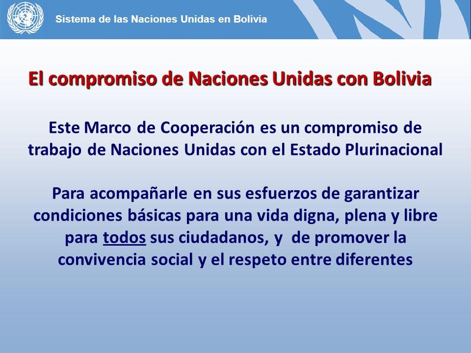 Este Marco de Cooperación es un compromiso de trabajo de Naciones Unidas con el Estado Plurinacional Para acompañarle en sus esfuerzos de garantizar condiciones básicas para una vida digna, plena y libre para todos sus ciudadanos, y de promover la convivencia social y el respeto entre diferentes El compromiso de Naciones Unidas con Bolivia Sistema de las Naciones Unidas en Bolivia