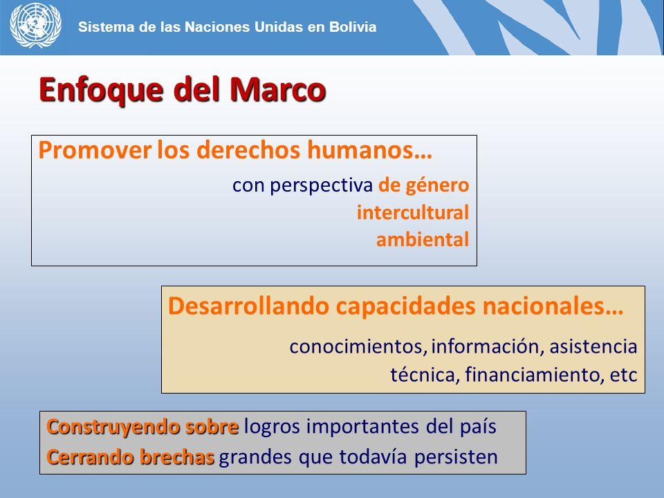 Promover los derechos humanos… con perspectiva de género intercultural ambiental Desarrollando capacidades nacionales… conocimientos, información, asistencia técnica, financiamiento, etc Enfoque del Marco Construyendo sobre Construyendo sobre logros importantes del país Cerrando brechas Cerrando brechas grandes que todavía persisten Sistema de las Naciones Unidas en Bolivia