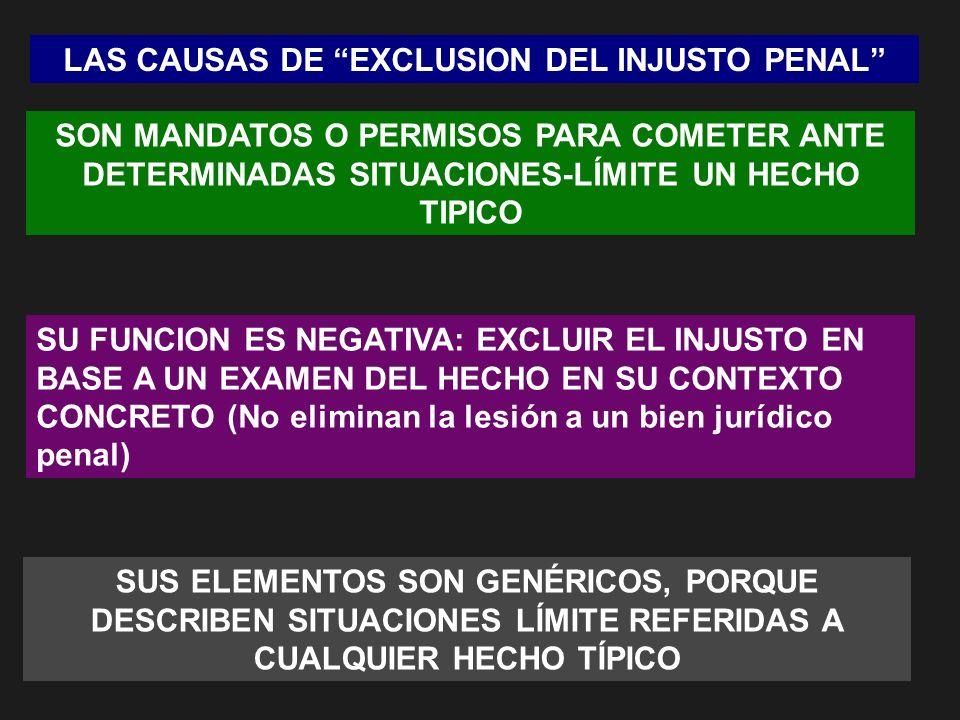 LAS CAUSAS DE EXCLUSION DEL INJUSTO PENAL SON MANDATOS O PERMISOS PARA COMETER ANTE DETERMINADAS SITUACIONES-LÍMITE UN HECHO TIPICO SU FUNCION ES NEGA