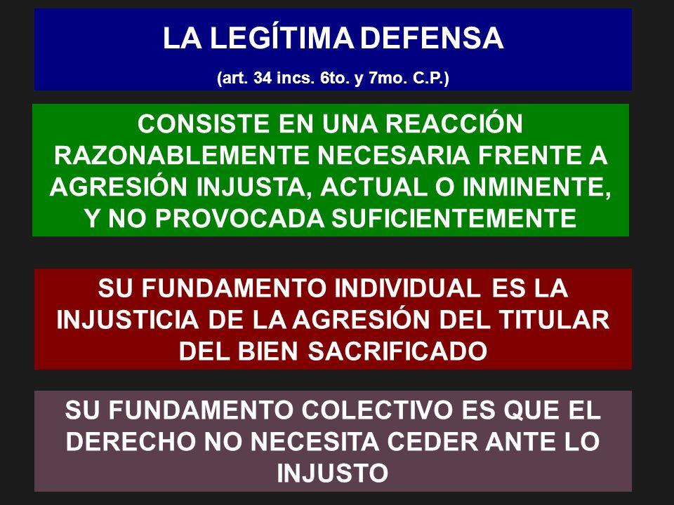 LA LEGÍTIMA DEFENSA (art. 34 incs. 6to. y 7mo. C.P.) CONSISTE EN UNA REACCIÓN RAZONABLEMENTE NECESARIA FRENTE A AGRESIÓN INJUSTA, ACTUAL O INMINENTE,