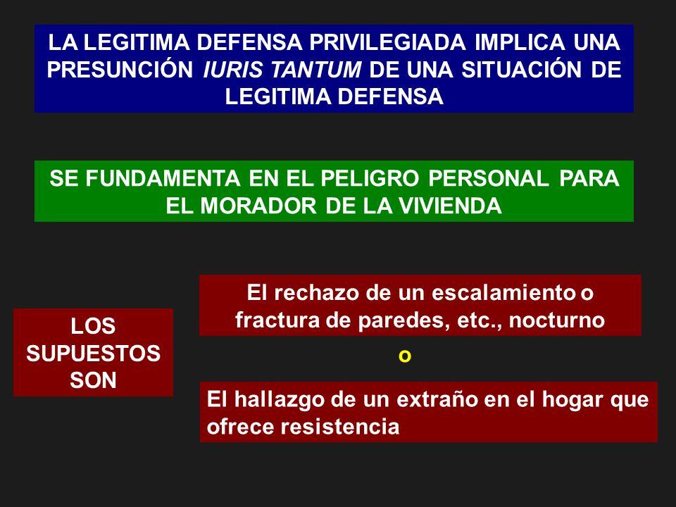 LA LEGITIMA DEFENSA PRIVILEGIADA IMPLICA UNA PRESUNCIÓN IURIS TANTUM DE UNA SITUACIÓN DE LEGITIMA DEFENSA SE FUNDAMENTA EN EL PELIGRO PERSONAL PARA EL