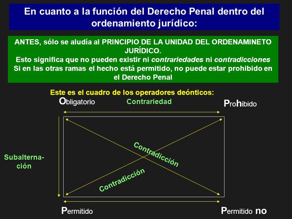 En cuanto a la función del Derecho Penal dentro del ordenamiento jurídico: ANTES, sólo se aludía al PRINCIPIO DE LA UNIDAD DEL ORDENAMINETO JURÍDICO.