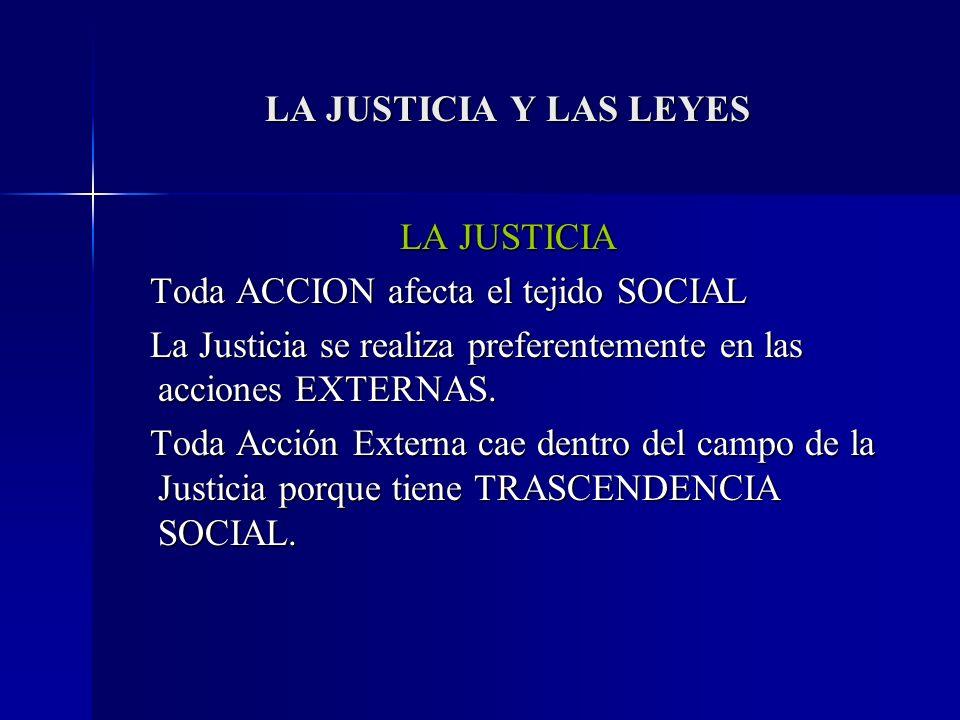 LA JUSTICIA Y LAS LEYES LA JUSTICIA Toda ACCION afecta el tejido SOCIAL Toda ACCION afecta el tejido SOCIAL La Justicia se realiza preferentemente en