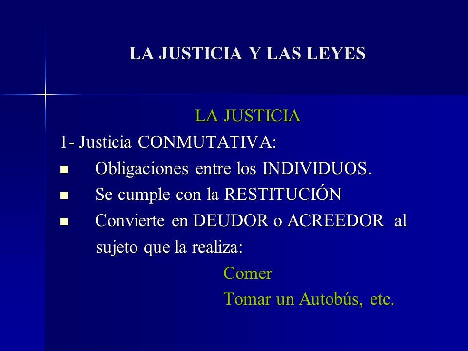 LA JUSTICIA Y LAS LEYES LA JUSTICIA 1- Justicia CONMUTATIVA: Obligaciones entre los INDIVIDUOS. Obligaciones entre los INDIVIDUOS. Se cumple con la RE