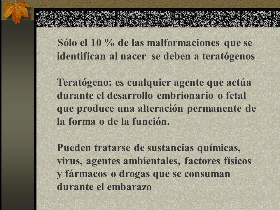 Sólo el 10 % de las malformaciones que se identifican al nacer se deben a teratógenos Teratógeno: es cualquier agente que actúa durante el desarrollo