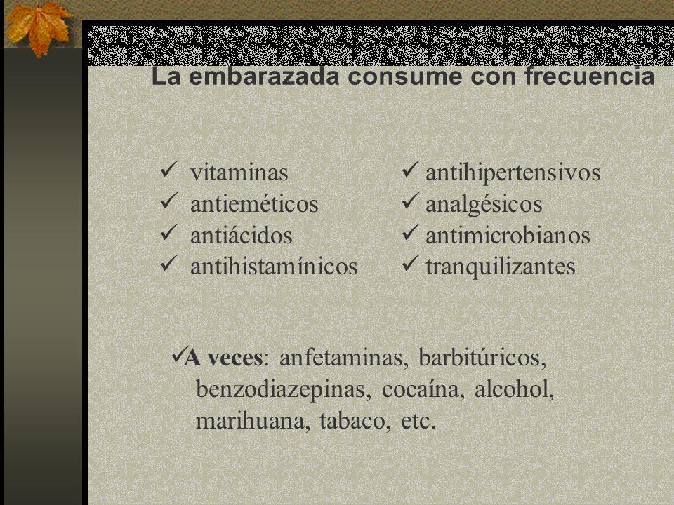 La embarazada consume con frecuencia vitaminas antieméticos antiácidos antihistamínicos antihipertensivos analgésicos antimicrobianos tranquilizantes