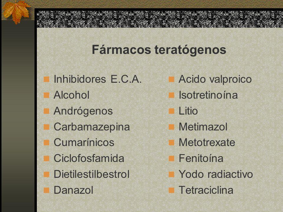 Fármacos teratógenos Inhibidores E.C.A. Alcohol Andrógenos Carbamazepina Cumarínicos Ciclofosfamida Dietilestilbestrol Danazol Acido valproico Isotret